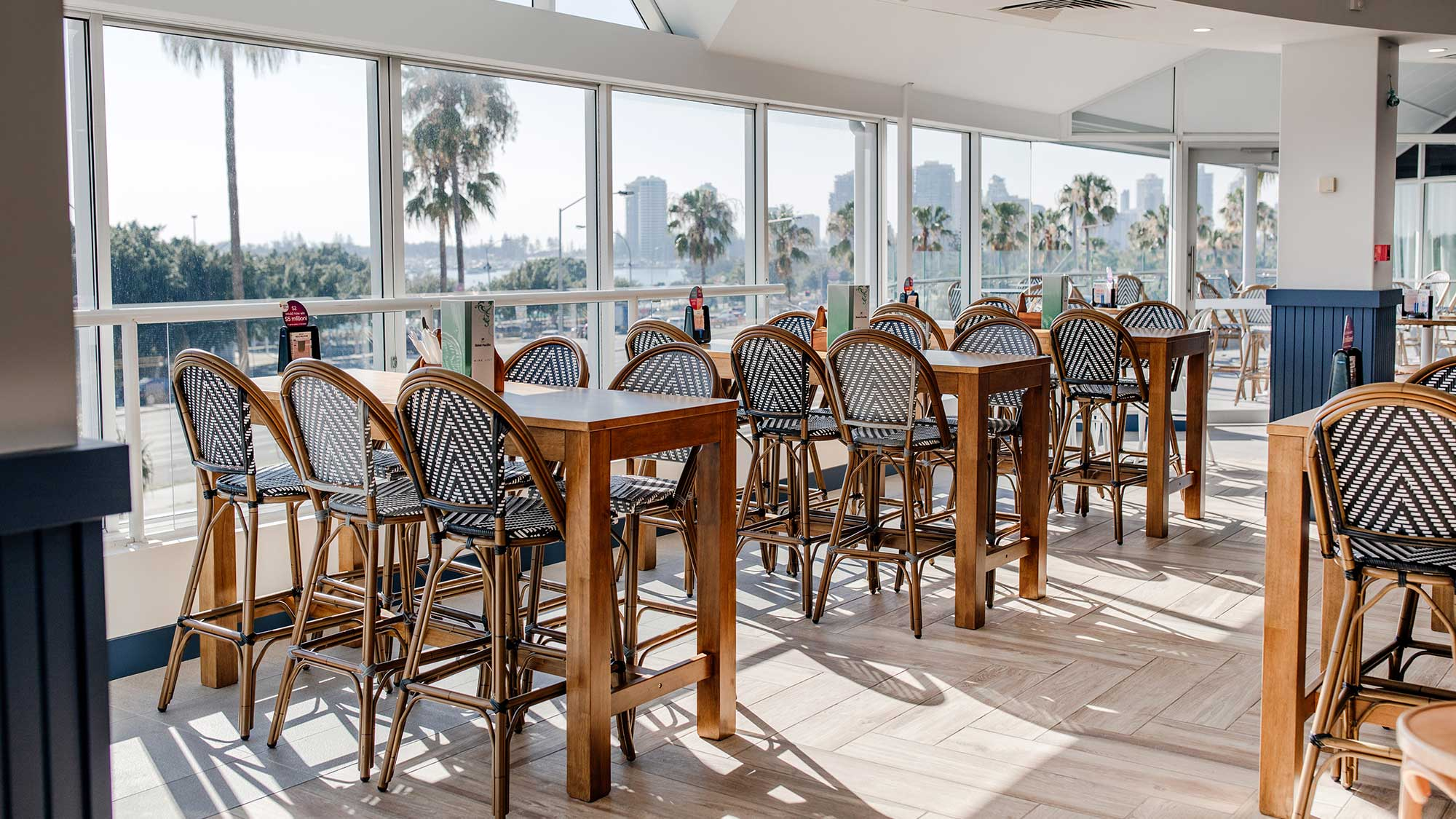 Jasmine Stools & Rubberwood Timber Tables | Hotel Pacific, Southport QLD