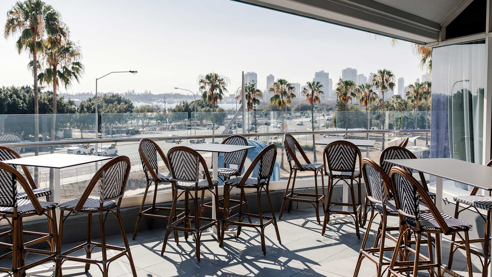 Jasmine Stools & Compact Laminate Bar Tables | Hotel Pacific, Southport QLD