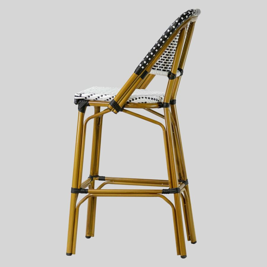Calais Barstool with Backrest - Black and White