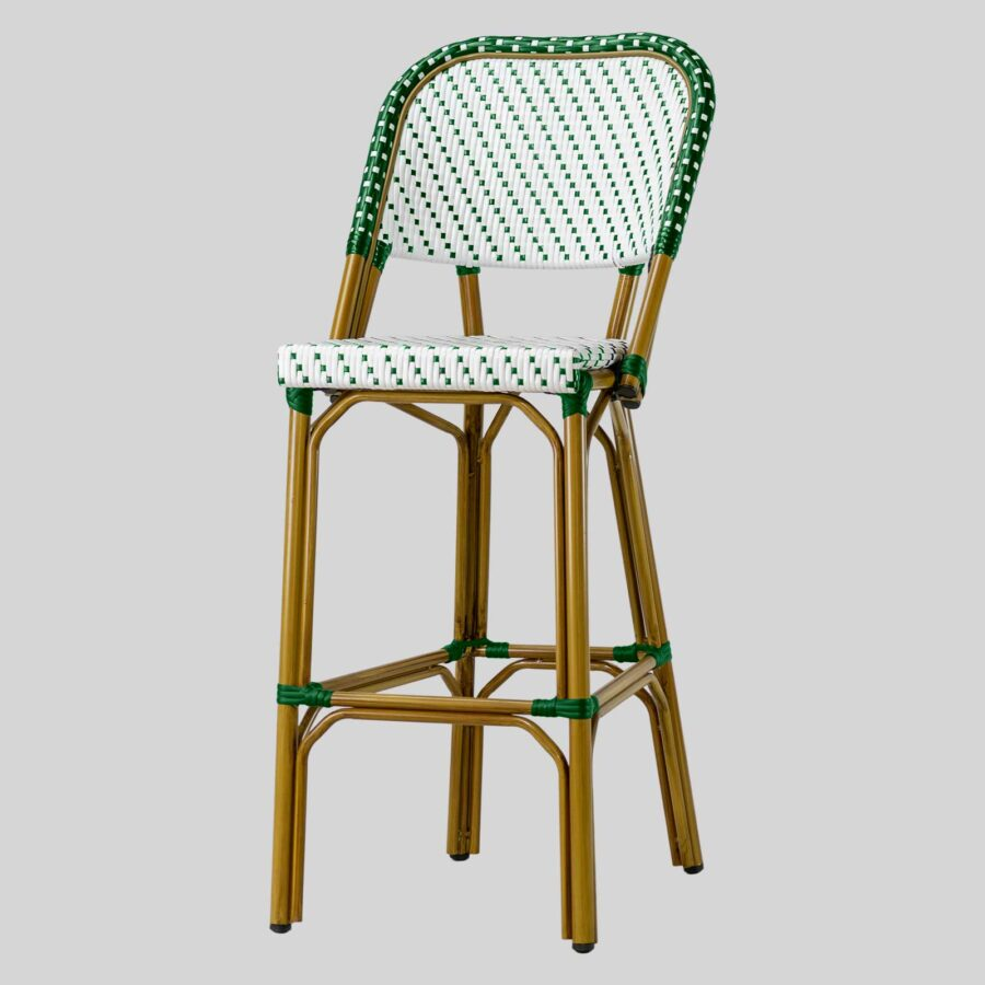 Calais Barstool with Backrest - Green and White