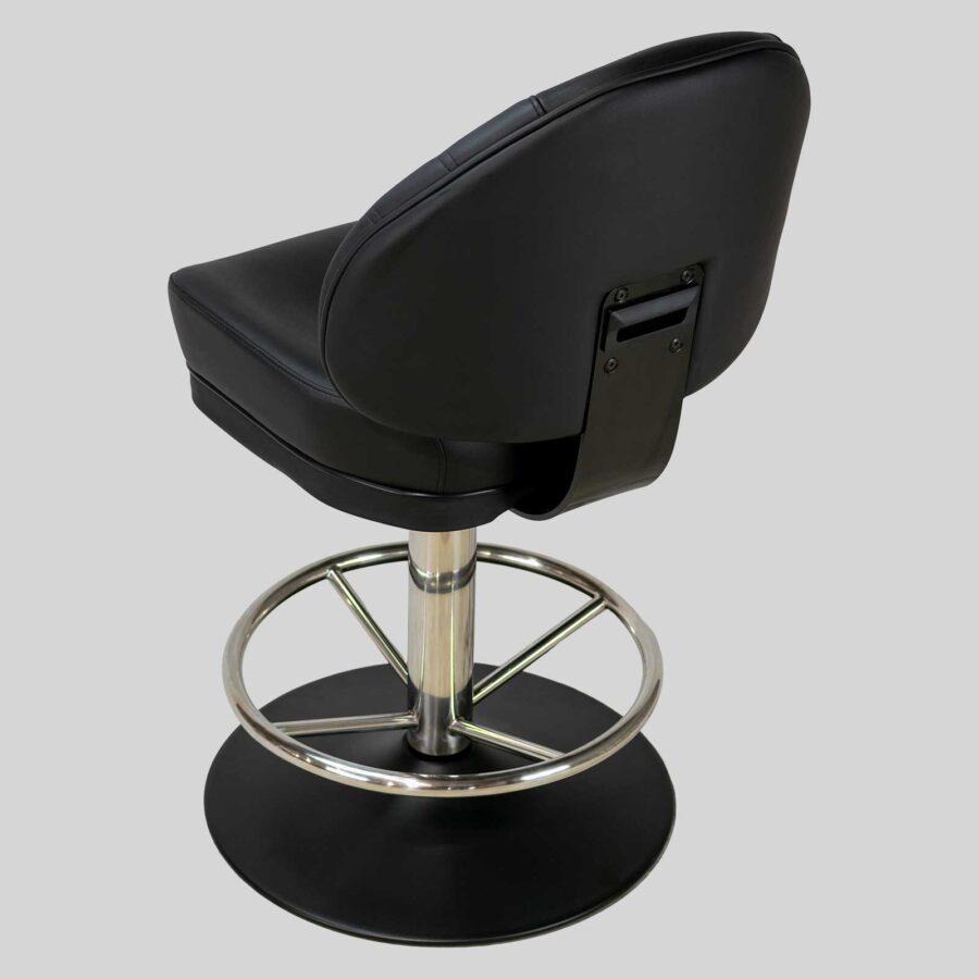 Stirling II Gaming Stool - Black Seat - Stainless Column & Footring - Black Disc Base